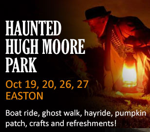 Enjoy an evening of spookery in the Hugh Moore Park in Easton. A special Halloween ride on the Josiah White II, a ghost walk to the locktender's house, ghost stories, hay ride, crafts and lots of fun activities and snacks. October 19, 20, 26, 27. Check-in Time: 6:00 pm. Canal Boat Ride: 6:30 pm sharp (begin boarding at 6:15). Activities: 7:00 - 9:00 pm. Cost: $18.00 per adult; $12 per child (age 3 - 15), (children 2 & under free). No strollers on the boat. Reservations Required.